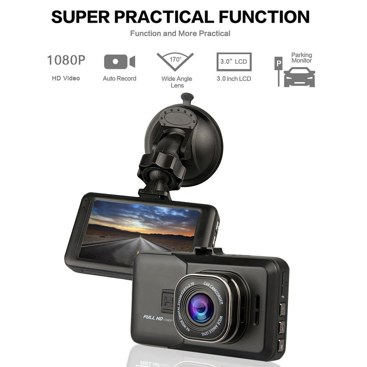 170 Degree Wide Angle in CAR//Night Vision//G-Sensor//WDR//Loop Recording Include MICROSD➕ ➕ ❗Free❗Mobile Stand Dealsplaza Deals Plaza Dash CAM Full HD 1080P CAR DVR Camera Video Recorder Monitor 3.0 INCH