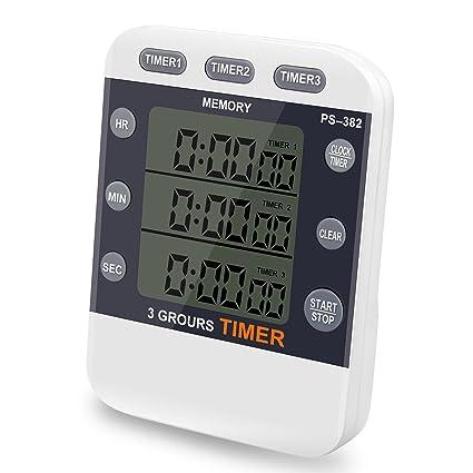 Temporizador digital CEEBON, 100 horas, reloj temporizador triple con cuenta atrás, reloj de