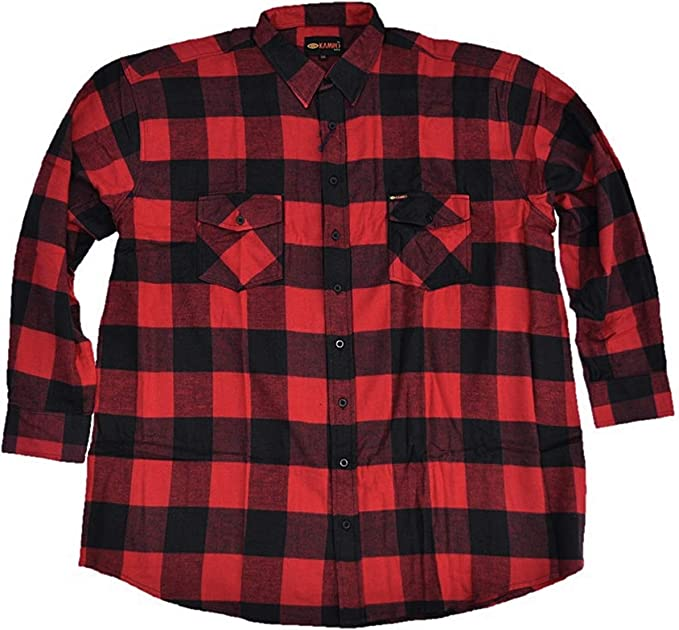 Kamro sobredimensiones! Camisa de Franela con diseño de leñador, Color Rojo y Negro, a Cuadros 3XL - 14XL: Amazon.es: Ropa y accesorios