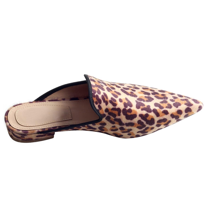 Jushee Frauen Damen Chic Velvet Backless Slip auf Loafers Flache Schuhe Stickerei Schwarz Pelz Handmade Mule Pantoffeln 35 X2YF3NtmIz