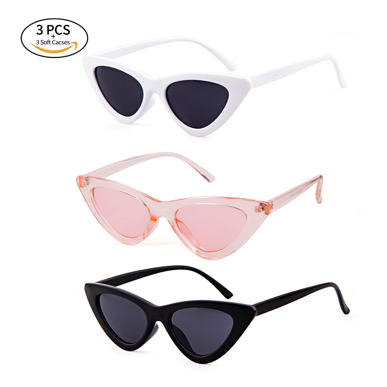 Gifiore Retro Vintage Cat Eye Sunglasses for Women Clout Goggles Plastic Frame Glasses (Black&White&Pink, 51)
