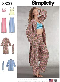 product image for Simplicity Pattern 8800 Misses' Robe, Pants, Top and Bralette, Size A (XS-XL)