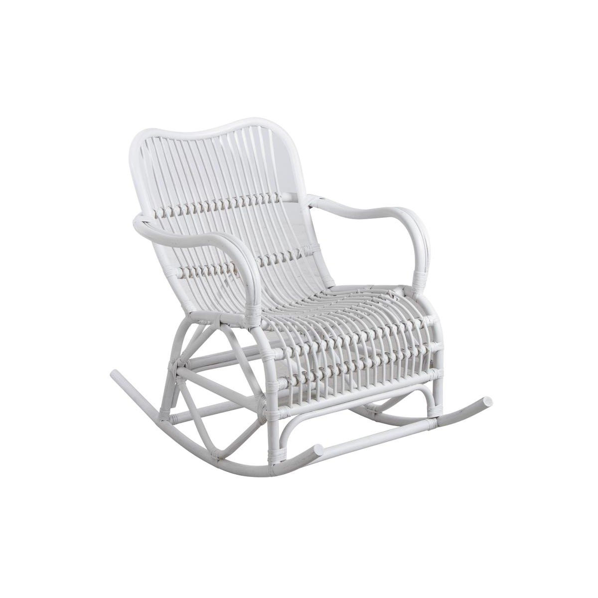 silla mecedora de mimbre blanco