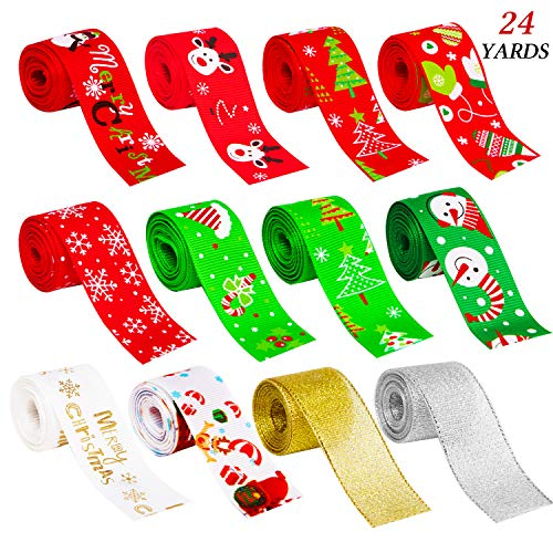 """D-buy 24 Yards 1"""" Wide Christmas Ribbon, 12 Styles Christmas Ribbons for Crafts, DIY Christmas Crafts for Christmas Decoration Christmas Gift Wrapping Hair Bow Ribbon Wreath Holiday Party(12 x 2yd)"""