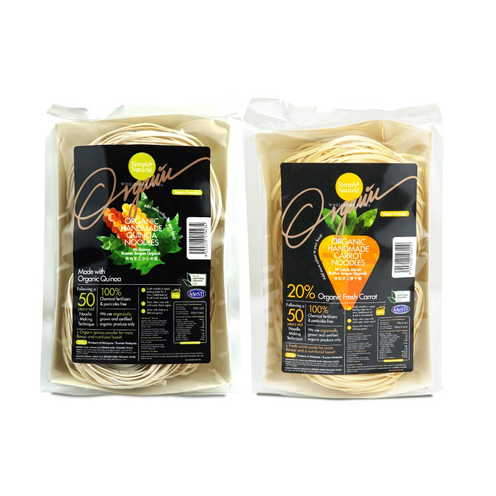 Natural Handmade Quinoa & Carrot Noodle with High Protein Flour, Pack of 2, Suitable for Elderly/Adults/Kids,quick and Easy to Cook