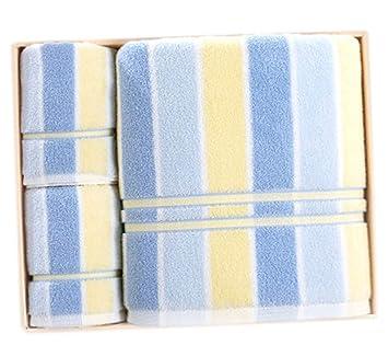 Toalla de algodón a Rayas Juego de Regalo de Toalla de baño de Tres Piezas (Incluye 1 Toalla de baño y 2 Toallas de Cara): Amazon.es: Hogar