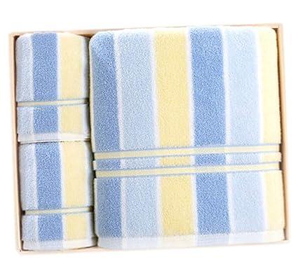 Toalla de algodón a Rayas Juego de Regalo de Toalla de baño de Tres Piezas (