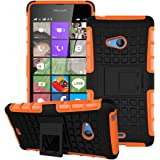 Heartly Flip Kick Stand Spider Hard Dual Rugged Armor Hybrid Bumper Back Case Cover For Microsoft Lumia 540 Dual SIM - Mobile Orange