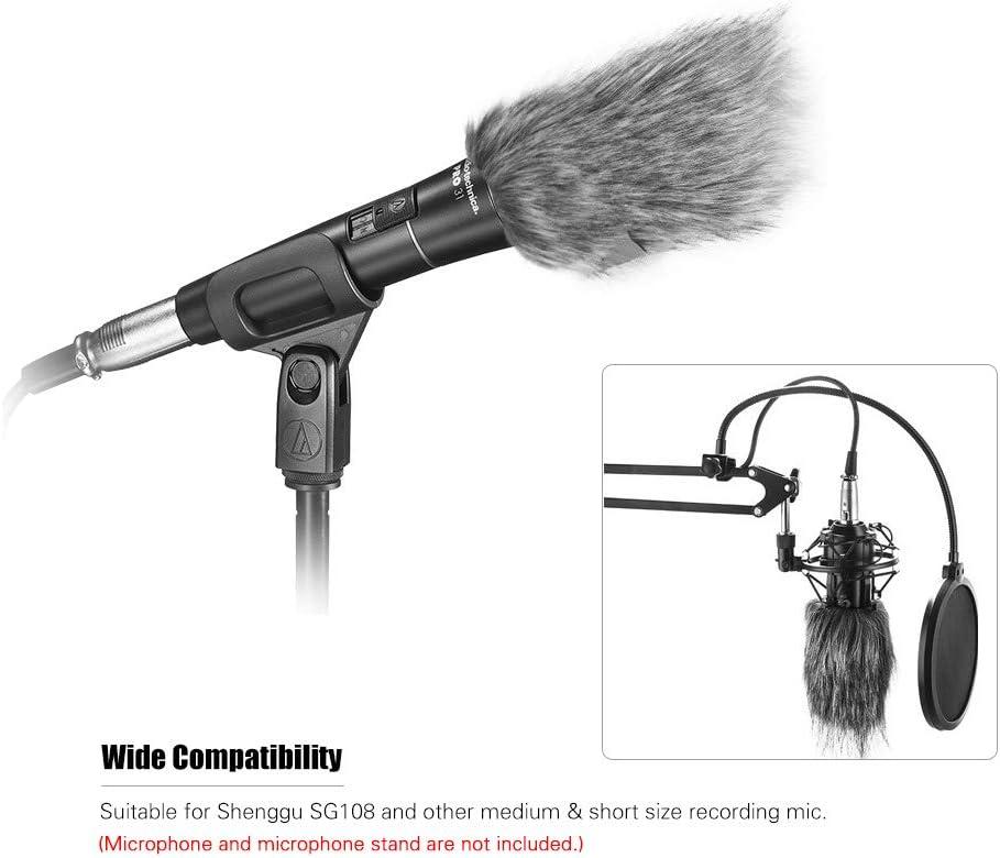 11.5cm Microfono grigio Furry Parabrezza Parabrezza parabrezza parafango per Shenggu SG108 e altri microfoni di registrazione medi e corti circa 9,5 cm di lunghezza TOPTOO 9.5cm