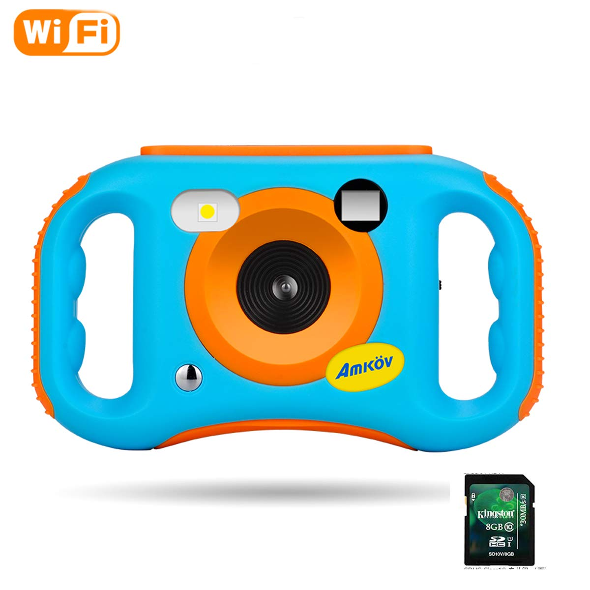Amkov WiFi Kids Camera with 8G SD Card Digital Camera with WiFi for Kids Children Creative Digital Camera, 5Mp 1.77 Inch TFT Display Video Recording(Blue) AMKFP004