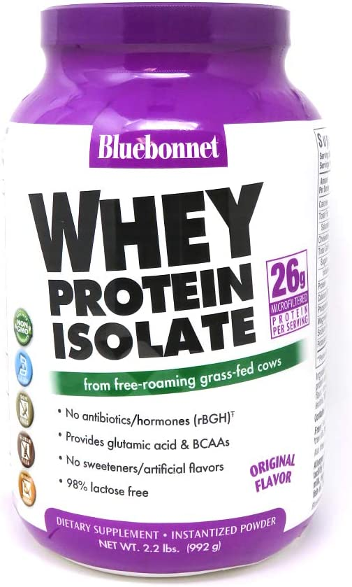 Bluebonnet Nutrition Whey Protein Isolate Powder, Whey from Grass Fed Cows, 26 Grams of Protein, No Sugar Added, Non GMO, Gluten Free, Soy Free, Kosher Dairy, 2.2 lbs, 32 Servings, Original Unflavored