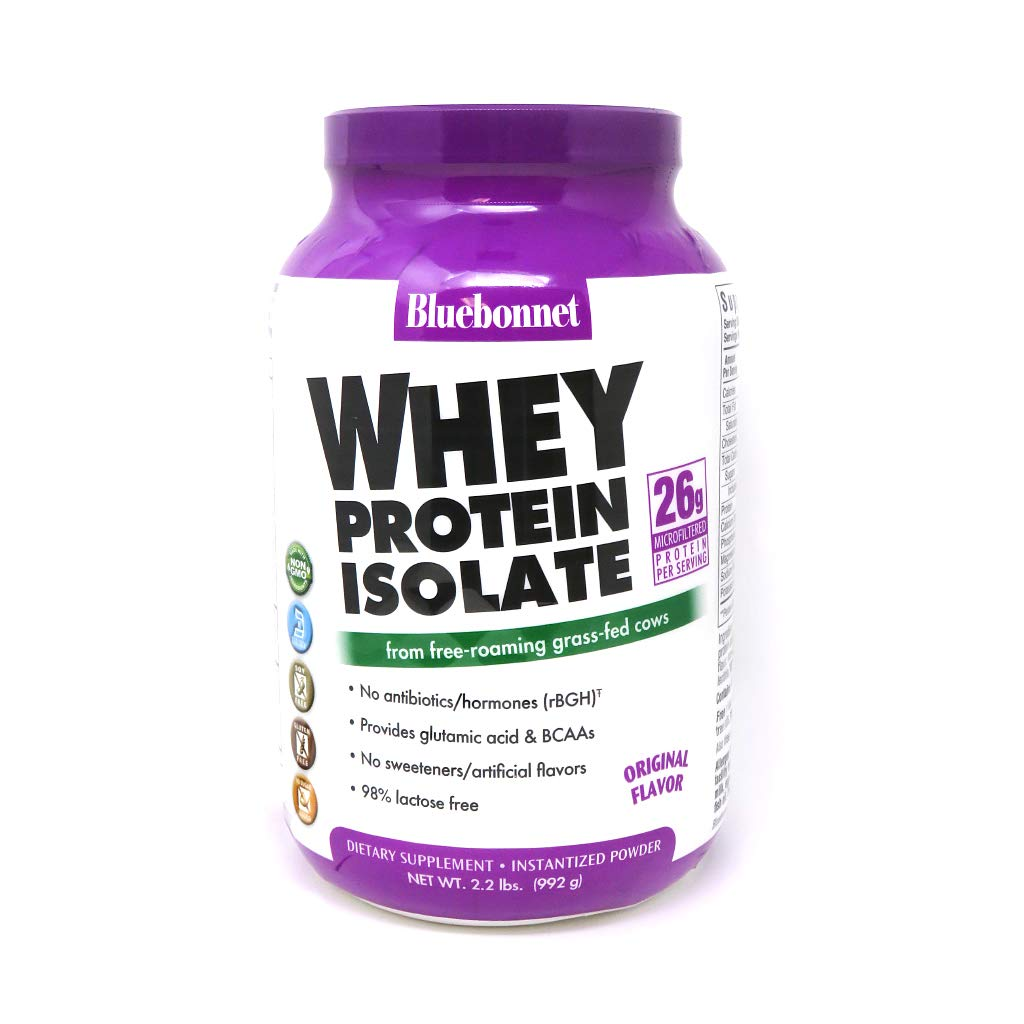 Bluebonnet Nutrition Whey Protein Isolate Powder, Whey from Grass Fed Cows, 26 Grams of Protein, No Sugar Added, Non GMO, Gluten Free, Soy Free, Kosher Dairy, 2.2 lbs, 32 Servings, Original Unflavored by Bluebonnet