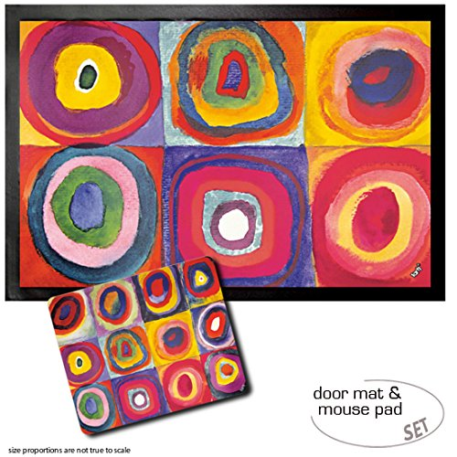 Set: 1 Door Mat Floor Mat (24x16 inches) + 1 Mouse Pad (9x7 inches) - Wassily Kandinsky, Colour Study, Squares with Concentric Rings, 1913 (Colour Study Kandinsky)