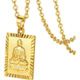 GOLDCHIC JEWELRY Gold Plated Dragon/Buddha Totem Pendant with 51cm+5cm Extender Chain, Men Women Chinese Religion Lucky Amule