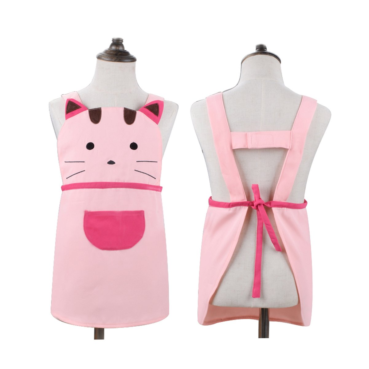 Love Potato Cute Girls Kids Toddler Cartoom Cat Embroidered Apron Cotton Children Apron Chef Kitchen Cooking Baking Apron for Kids 2-4 Years Old (Pink)