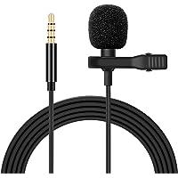 Micrófono de Solapa, 3.5mm Lavalier Micrófono Omnidirectional Condensador de Video Audio para Smartphones/PC para…
