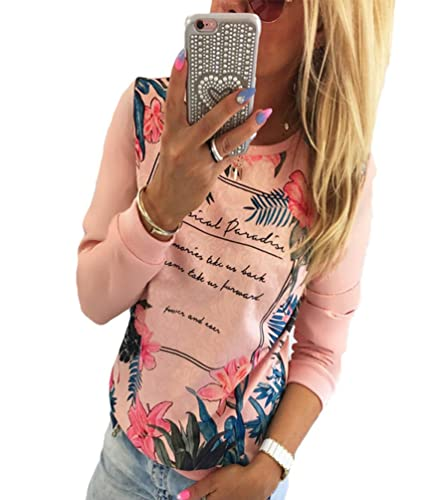 WanYang Mujeres Floral Impresión Manga Larga Blusa Camisa de la Blusa Tops Camiseta Tapas