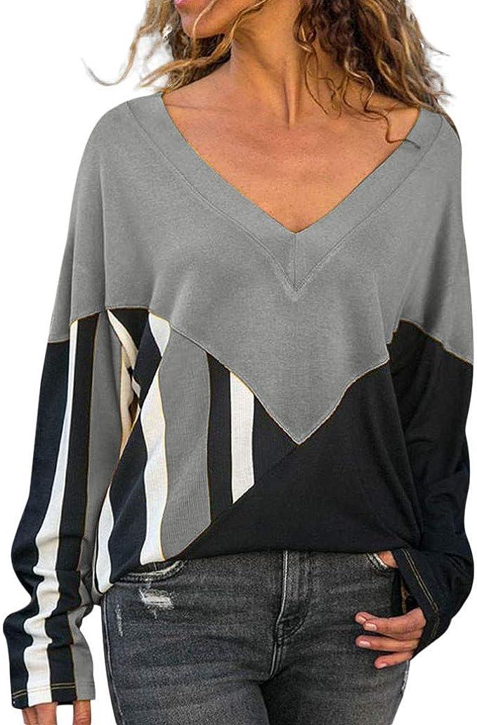 Camisas Mujer Blusas de Moda Otoño Mujer Camisetas con Cuello en v ...