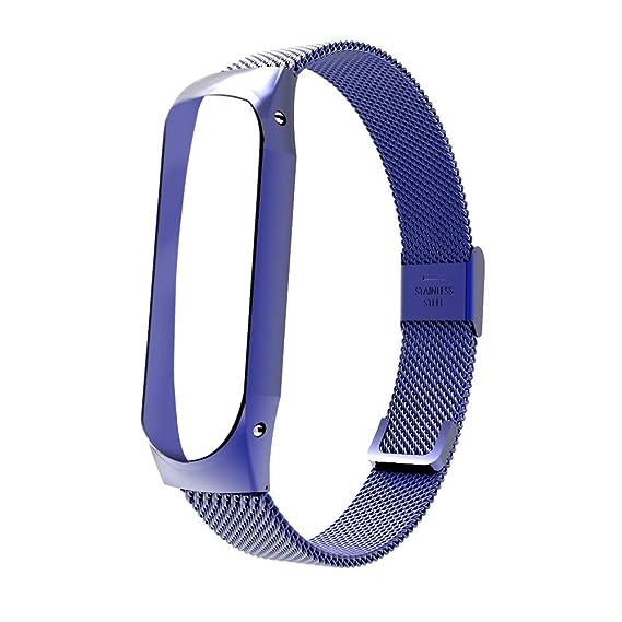 ❀para XiaoMi Mi Band3, Correa de Banda de Reloj de Lujo de Acero Inoxidable con Hebilla y Gancho.: Amazon.es: Ropa y accesorios