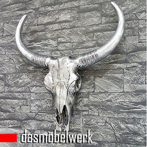 dasmöbelwerk XXL Deko Bullenschädel Antik silber Stierkopf Figur Skulptur Wandfigur Geweih Stier Hörner Bulle Aluminium AF2033