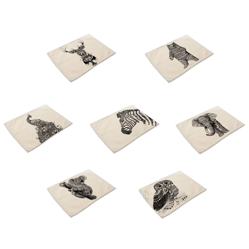 HACASO 7 Pieces Cotton Linen Placemats Hand Draw Sketching Animals Pattern Dining Table Mats(2)