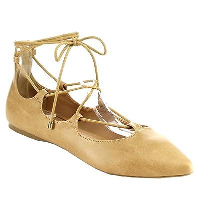 IA12 Women's Lace Up Ankle Tie Cutout Comfort Flats Half Size Bigger Color:CAMEL Size:6