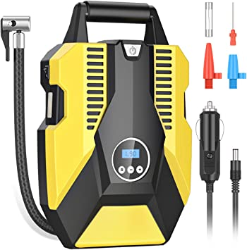 DC 12V 150PSI Portable Air Compressor Car Tyre Pump with 3 Nozzle Adaptors and Digital LED Light Electric Air Pump Tyre Inflation Auto Shut Off Accurate Pressure Control Digital Tyre Inflator