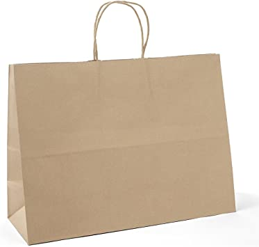Retail Shopping Kraft Gift Bags Brown Paper With Handles