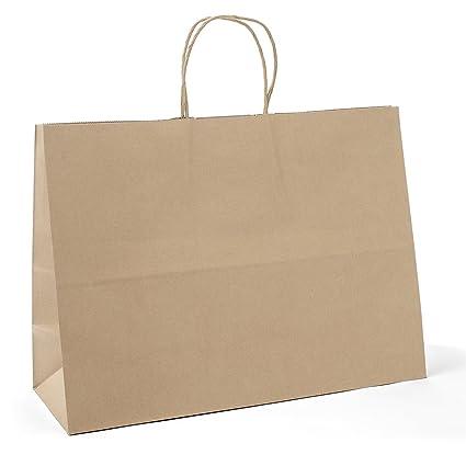Amazon Com Gssusa Facsco 25 Pcs 16x6x12 Kraft Paper Handle Shopping