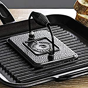 Lodge Pre-Seasoned Cast Iron Grill Press With Cool-grip Spiral Handle, 4.5 inch X 6.75 inch, Black