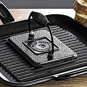 Lodge LGP3 Grill Press, 4.5 inch X 6.75 inch, Black
