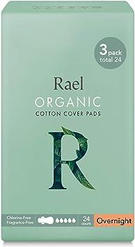 Rael Compresas de 100% algodón ecológico, para noche, ultrafinas con alas: Amazon.es: Belleza
