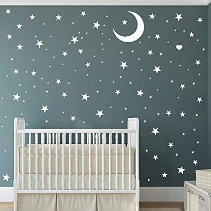 Easma Star Wall Decals 221stars 3 Size White Stars And Moon Decals Removable Peel And Stick Stickers Fits Kids Room Decor