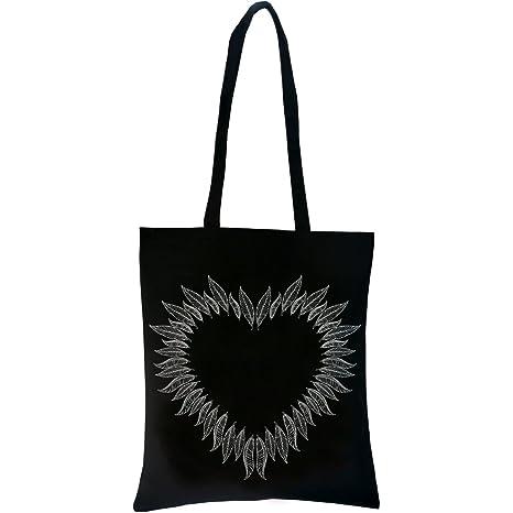 PREMYO Bolsa de la Compra Reutilizable Tela Bolso Tote Shopping Mujer Asas Largas Impresión Corazón de Plumas Práctico Cómodo Robusto Algodón Negro