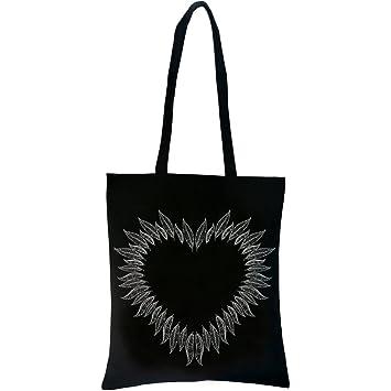 77139bbe36ed5 PREMYO Einkaufstasche Lange Henkel Baumwolltasche Schwarz Jutebeutel  Bedruckt mit Motiv Herz aus Federn Hübsch Stofftasche Trage