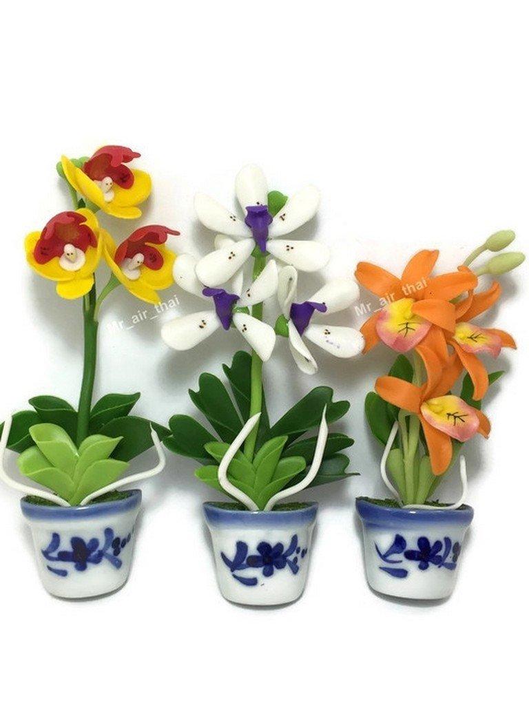 3 pc Orchid Miniature Flower Magnet Souvenir Collection 3D Fridge Refrigerator Magnet Hand Made F003