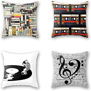 OATHENE Set of 4 Decorative Throw Pillow Covers,Vintage Music Magnetic Tape,Vinyl Records,Classic Books Cotton Linen Cushion Sofa Bedroom Car,Home Decor,18 x 18 Inch.1364
