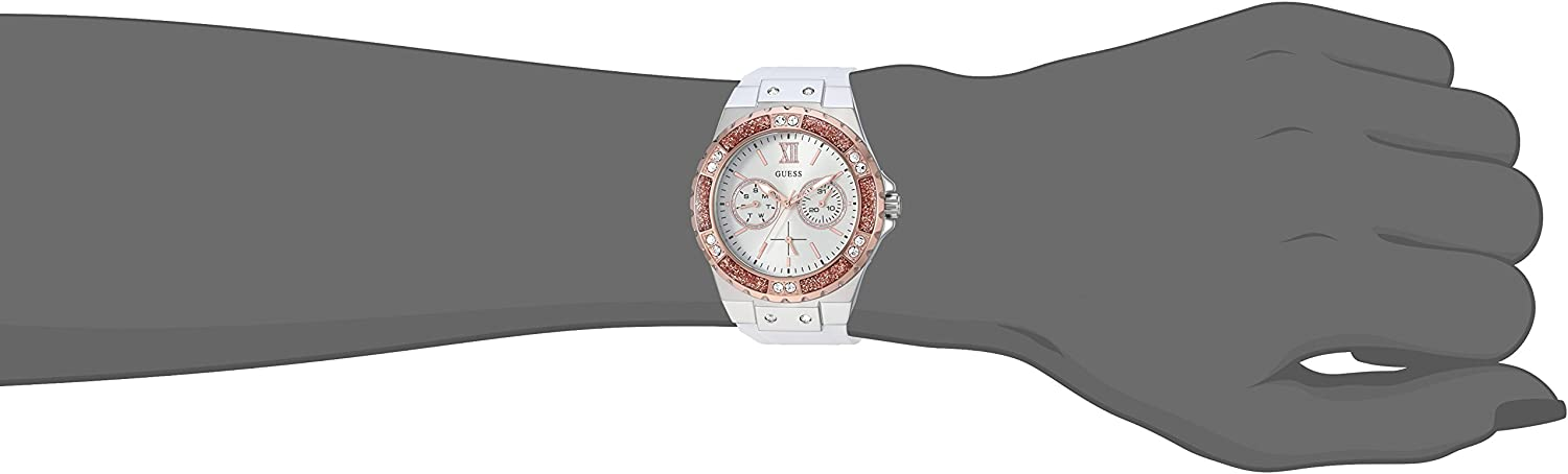 GUESS Women's Stainless Steel + Stain Resistant Silicone Watch with Day + Date Functions White/Silver/Rose Gold