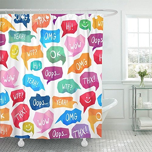 Emvency Shower Curtain Waterproof Colorful Slang Speech Bubbles with Acronyms and Abbreviations Internet Happy Polyester Fabric 60 x 72 Inches Set With (Bubble Hem Balloon)