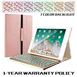 iPad Keyboard Case for iPad 9.7 2017(5th) 2018(6th) /Pro 9.7/Air/Air 2,Removable Wireless Bluetooth 7 Color Backlit Keyboard and Reliable Magnetic Cover-【Rose Gold】