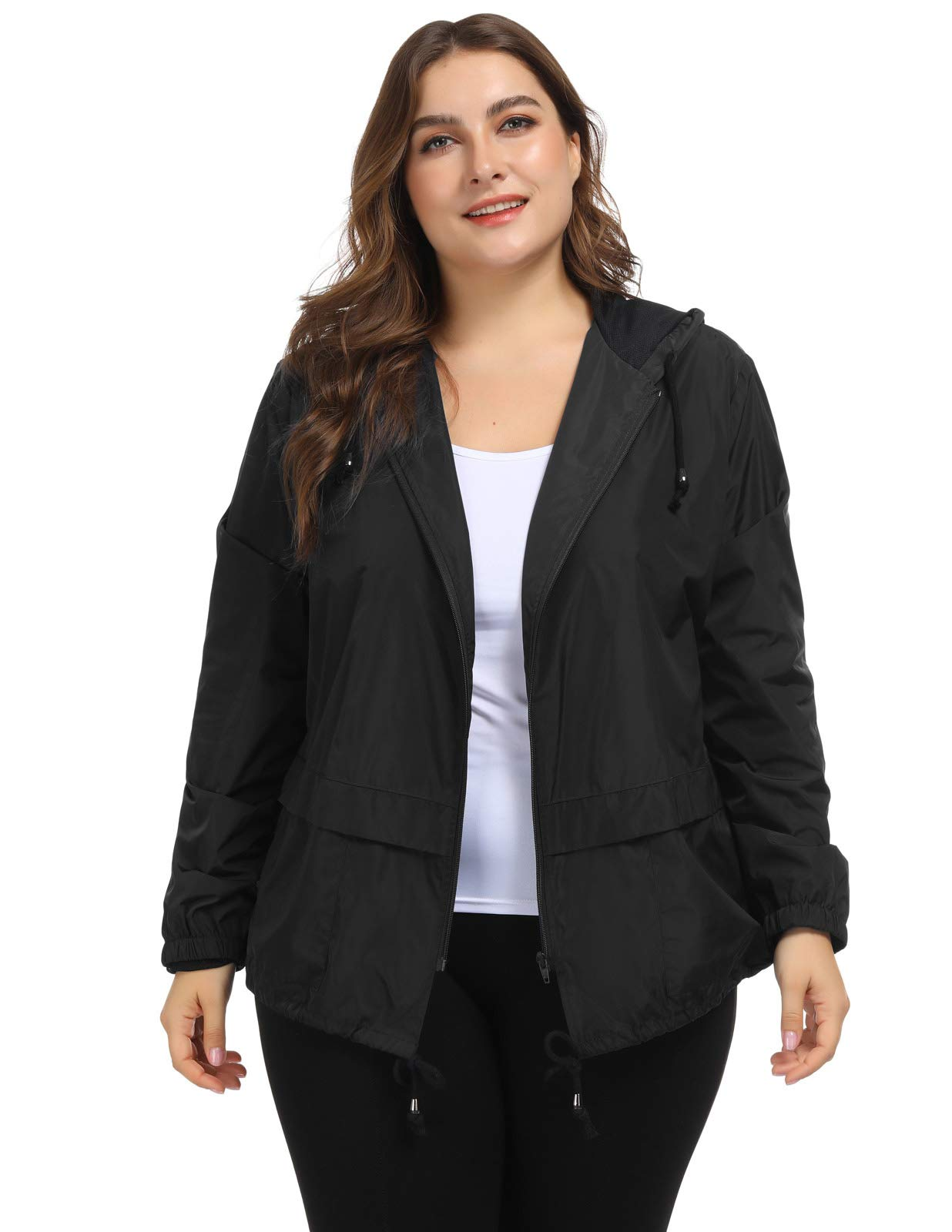 e0b624bb4 Hanna Nikole Women's Plus Size Lightweight Raincoat Hooded Packable Rain  Jacket