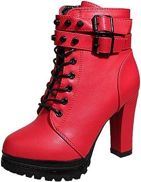 Fannyfuny Bottines Talon Femme Hiver Mode Botte Courte À Glissière Round Toe Cuir Plateforme Rome Martin Shoes Vintage Punk Chaussures à Lacets