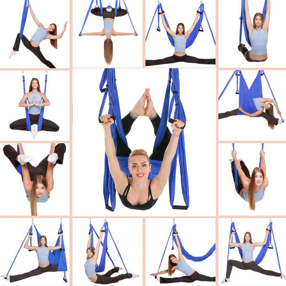 CleanDell Yoga Hammock Set Aerial Silk Yoga Set Safe Deluxe Aerial Kit Antigravity yoga Swing/Sling/Inversion Tool