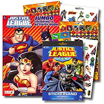 Justice League Coloring Book Bundle With Over 295 Stickers Specialty Separately Licensed GWW Reward Sticker