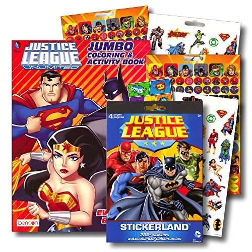Justice League Coloring Book Bundle with Over 295 Stickers