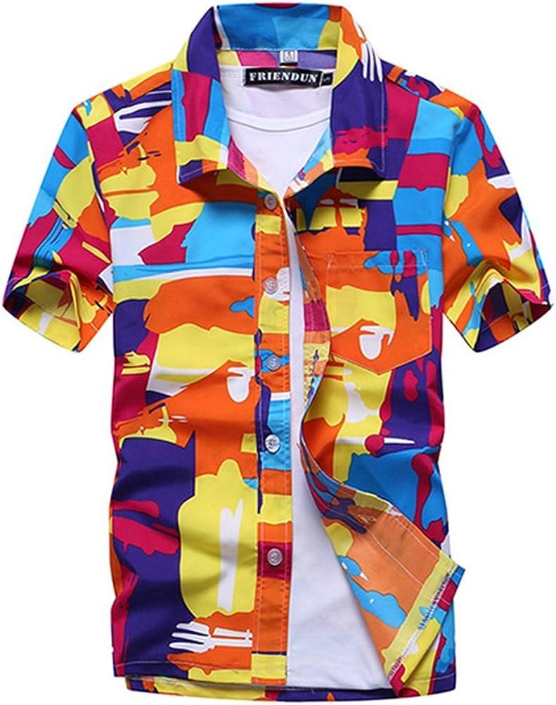 OULII Camisa de Manga Corta con Estampado Informal de Manga Corta de Verano para Hombres Camiseta de Playa con Capucha Talla L (Naranja): Amazon.es: Ropa y accesorios