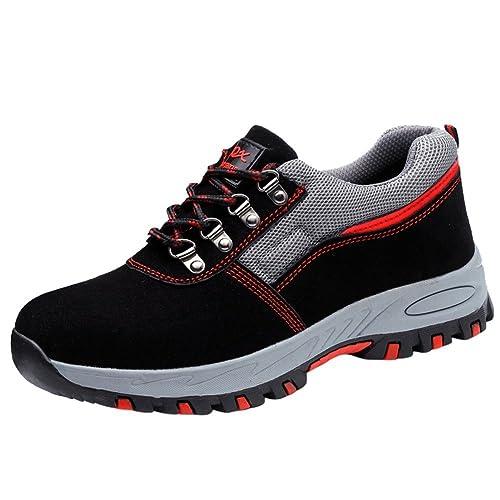 Deporte Zapato Zapatillas De Seguridad para Hombres Trabajo con Tapa Acero Industria Calzado Antideslizantes Ligeras: Amazon.es: Zapatos y complementos