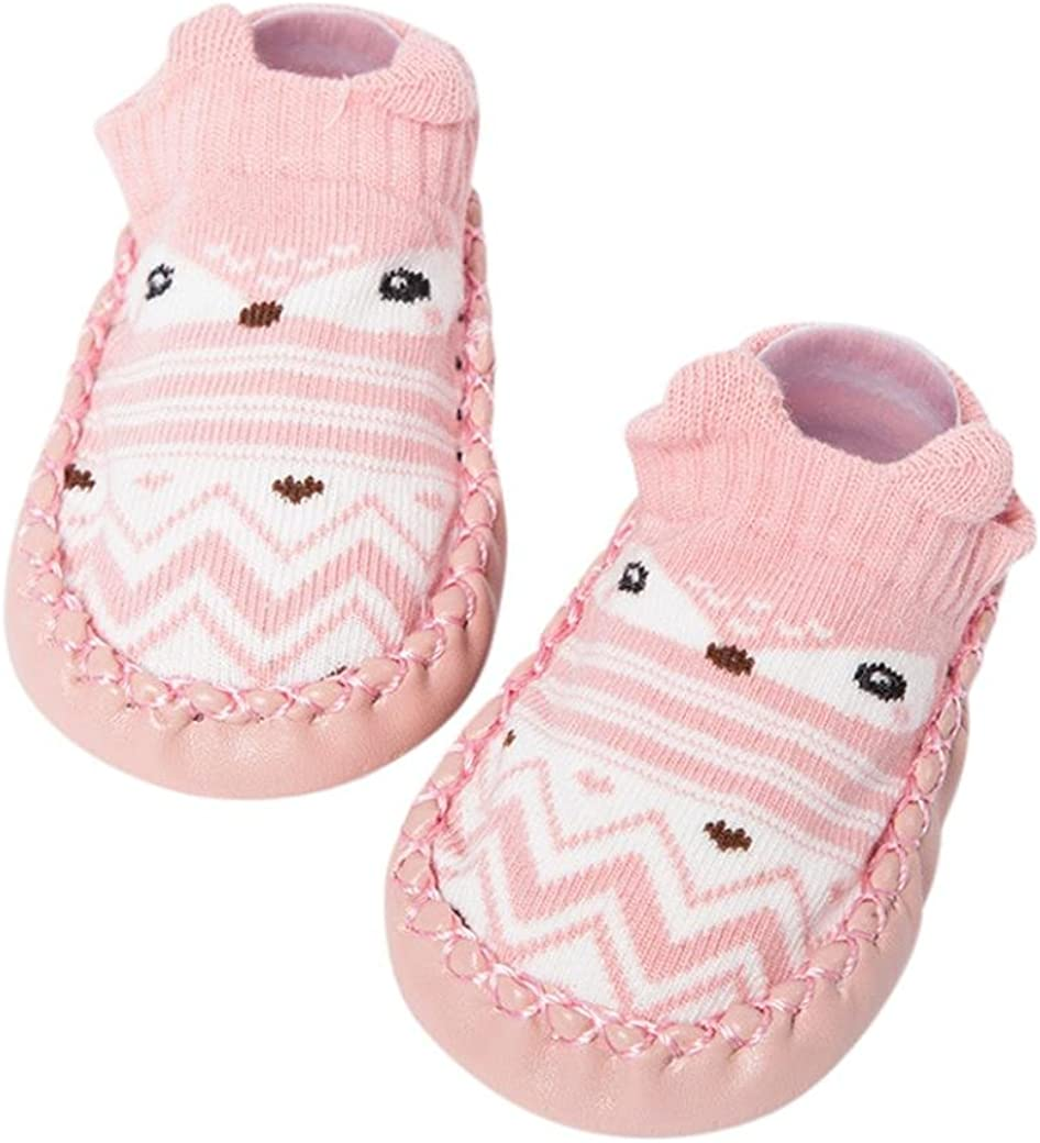 K-youth® Invierno Bebé Niñas Niños Indoor Zapatillas Piso Calcetines Patrón De Dibujos Animados Calcetines Zapatos Antideslizante Calcetines Botines