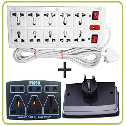 buy extension cords board power strip 10 2 with 3 pin 3 socket rh amazon in