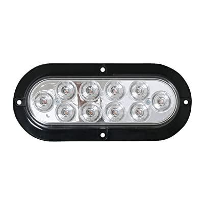Grand General 76873 Mega 10 Plus Oval Red/Clear LED with Black Flange & 3 Wires, 1 Pack: Automotive